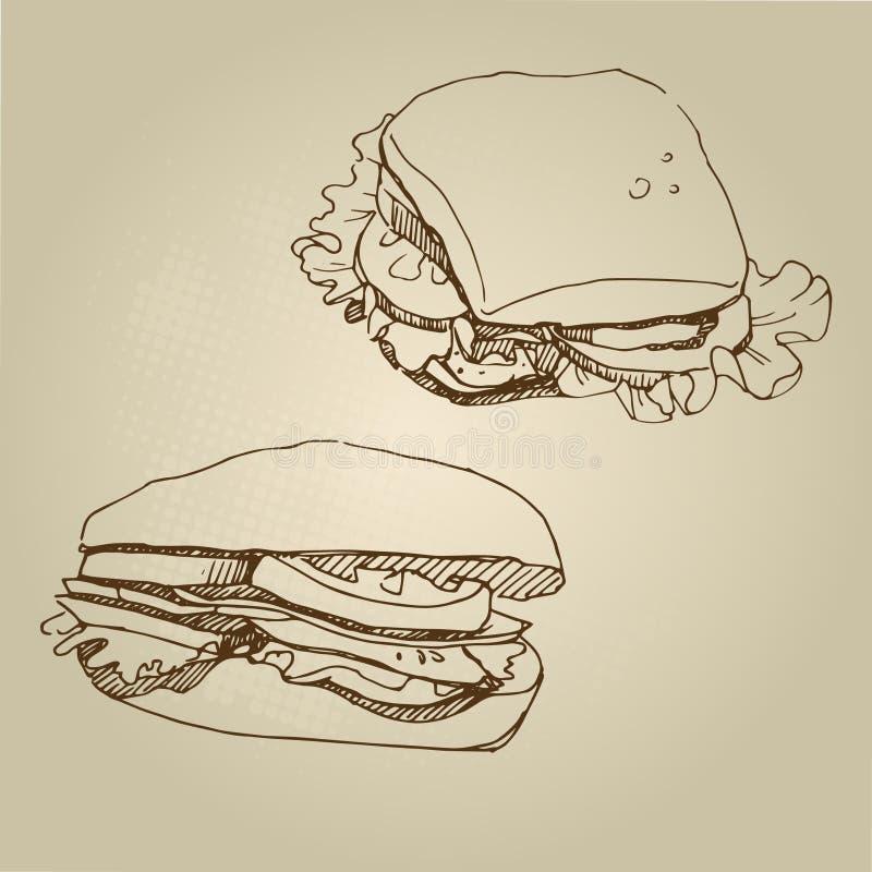 Lebensmittelskizzen-Sandwichsatz des Vektors Hand gezeichneter stockbild