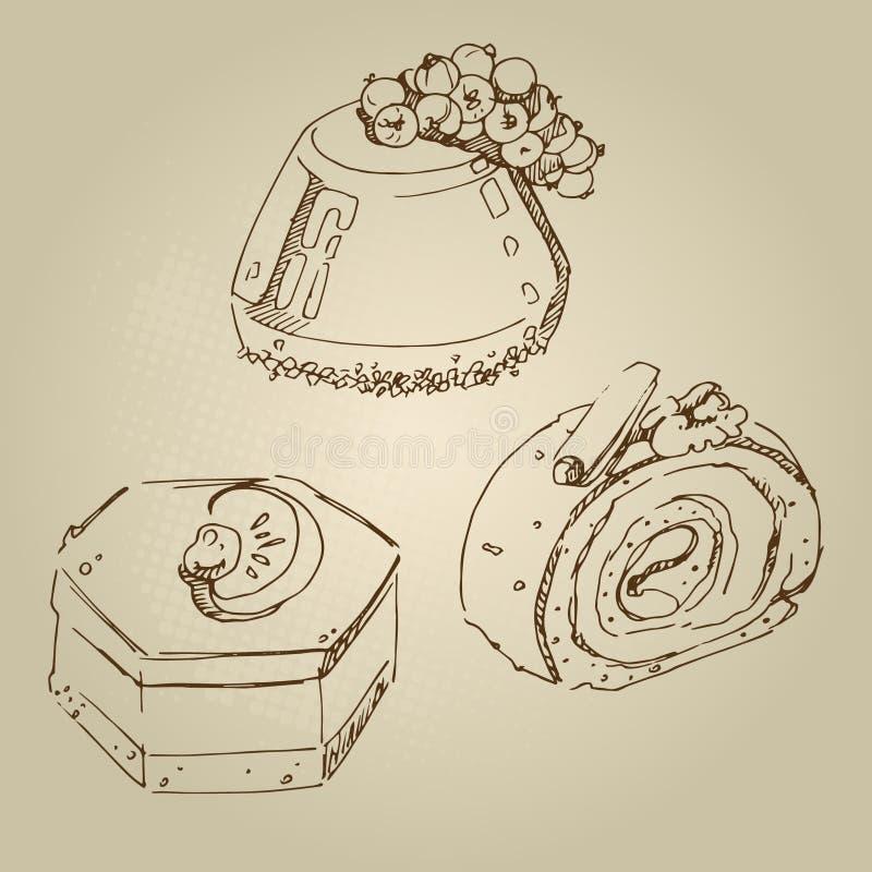 Lebensmittelskizzen-Schokoladenkuchen mit Korinthen, Kuchenmandarinenauflauf, Gelee, Schokoladenrolle lizenzfreie stockbilder