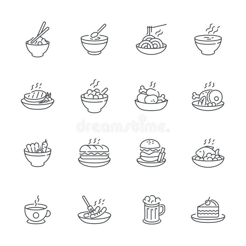 Lebensmitteltellerikone stellte auf weißen Hintergrund, Vektormahlzeitikonen-Entwurfsart ein stock abbildung
