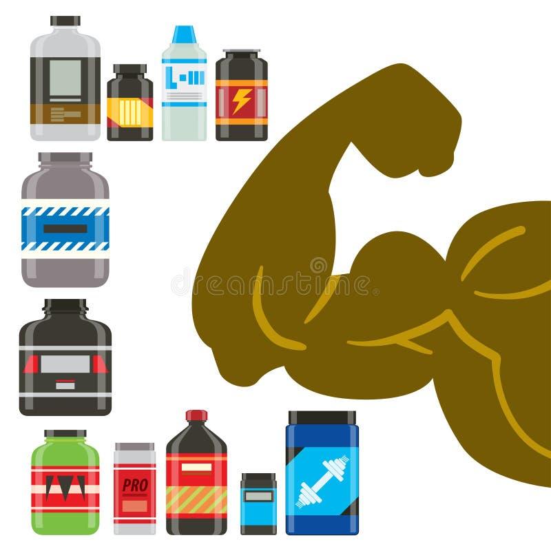 Lebensmittelvektoreignungsdiätbodybuilding proteine Energie-Sportlebensmittel der Sportnahrung gesundes und athletische Ergänzung stock abbildung