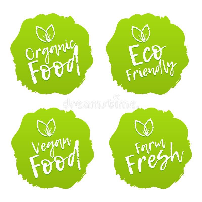 Lebensmittelzeichen Vegan, ökologisch, frisch und ökologisch lizenzfreie abbildung