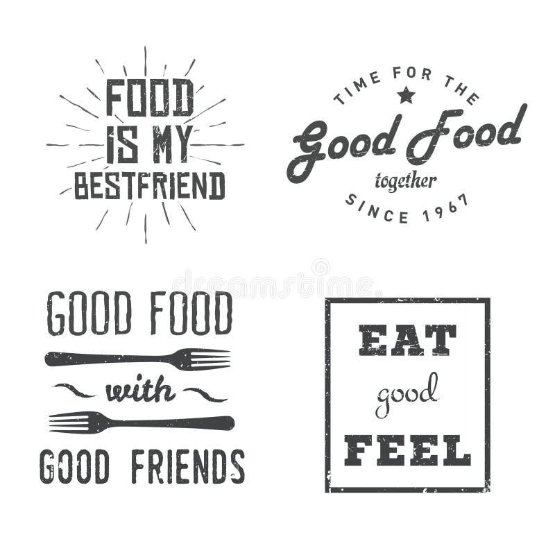 Lebensmittelzitate stock abbildung