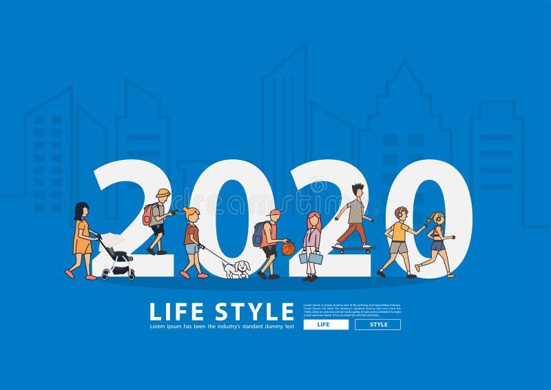 Lebensstil mit 2020 Leuten des neuen Jahres, der mit flachen großen Buchstaben in der Linie Stadtgebäude Hintergrund, moderner Pl vektor abbildung