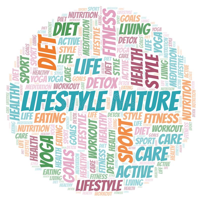 Lebensstil-Naturwortwolke stock abbildung