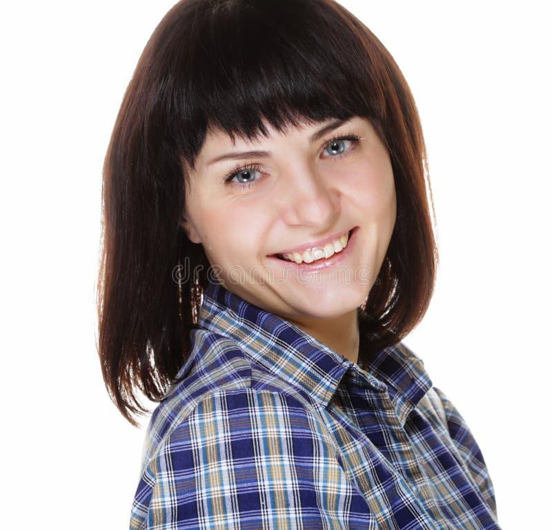 Lebensstil und Leutekonzept: Schließen Sie herauf Porträt einer lächelnden Frau lizenzfreies stockfoto