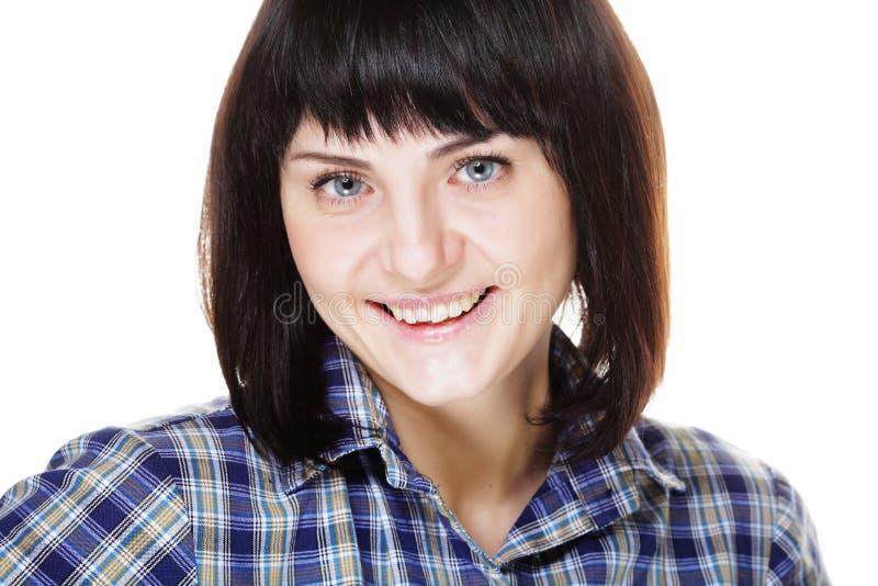Lebensstil und Leutekonzept: Schließen Sie herauf Porträt einer lächelnden Frau lizenzfreies stockbild