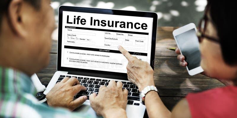 Lebensversicherungspolice-Nutzungsbedingungen-Konzept lizenzfreie stockfotografie