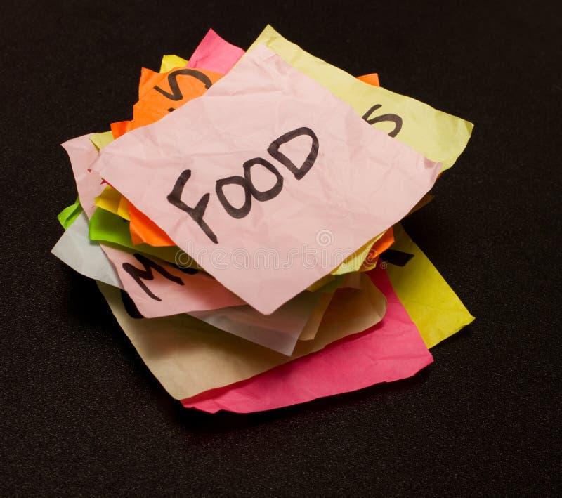 Lebenwahlen - Ausgabengeld auf Nahrung lizenzfreies stockbild