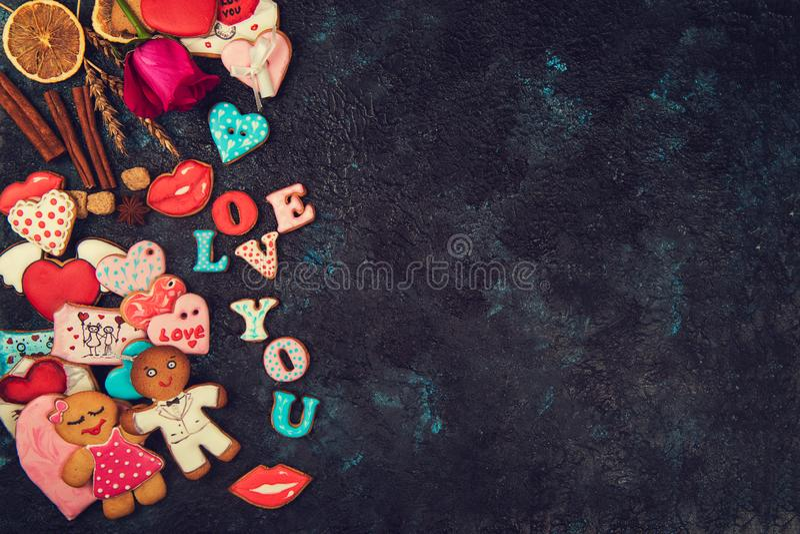 Lebkuchen für Valentinsgruß-Tag lizenzfreies stockfoto