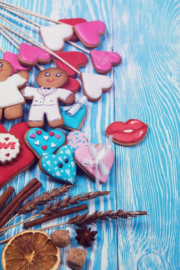 Lebkuchen für Valentinsgruß-Tag stockfotos