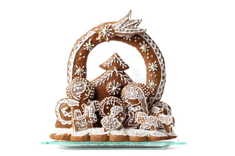 Lebkuchen-Geburt Christiszene getrennt lizenzfreies stockfoto