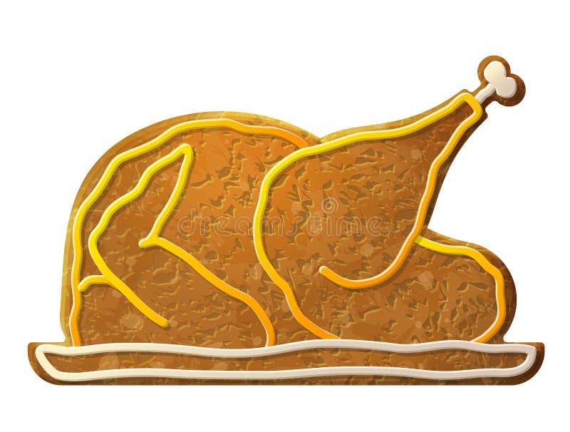 Lebkuchen gekochter Truthahn, Huhn verzierte farbige Zuckerglasur stock abbildung