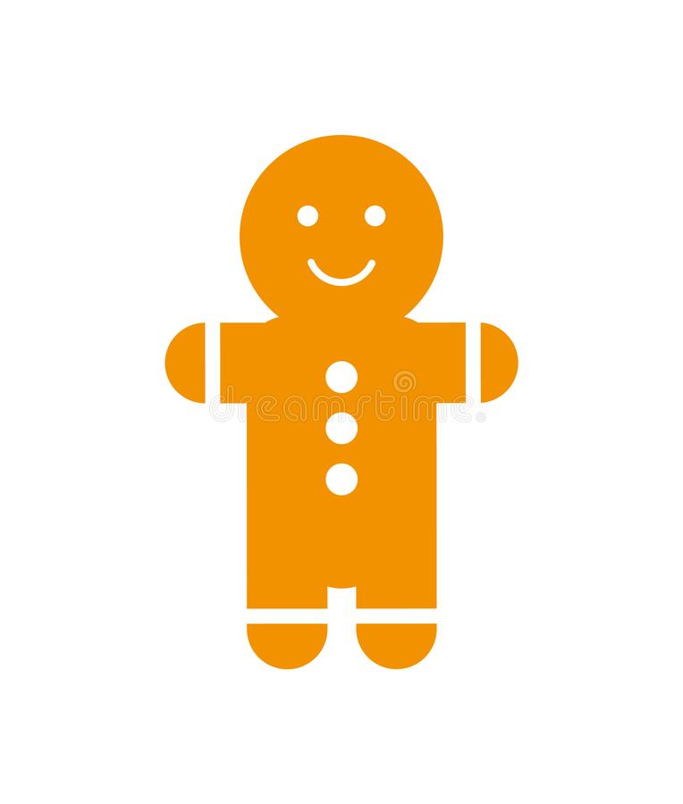 Lebkuchen-Mann mit Lächeln und Knöpfen auf Bauch lizenzfreie abbildung