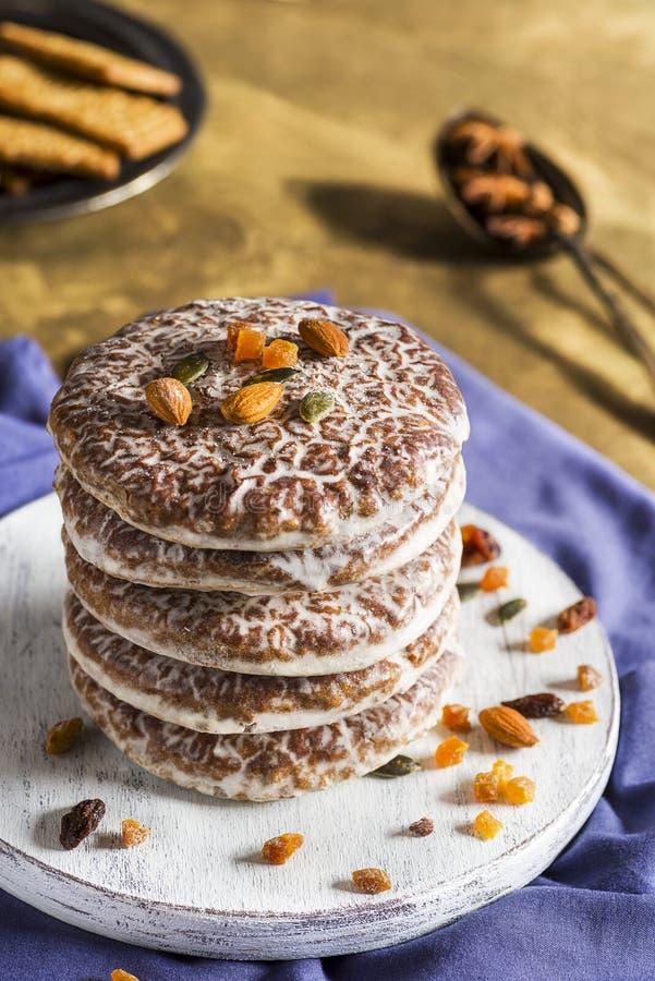 Lebkuchen są pikantnymi ciasteczkami świątecznymi Norymbergi - Niemcy zdjęcie stock