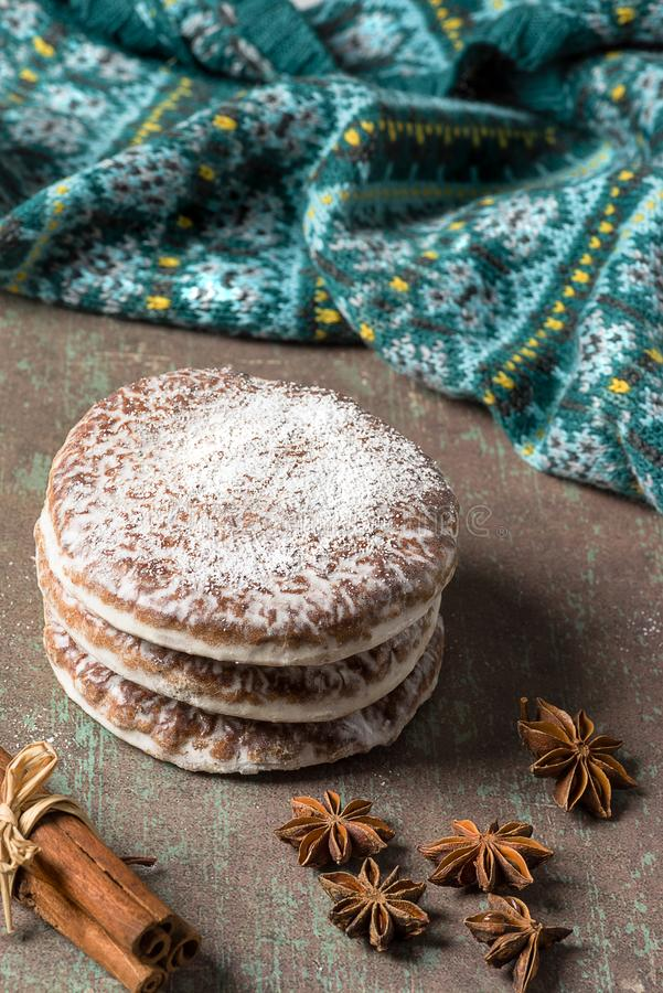 Lebkuchen are spicy Christmas cookies of Nuremberg - Germany. Lebkuchen, typical spicy Christmas cookies of German origin, especially Nuremberg, on rustic royalty free stock photos