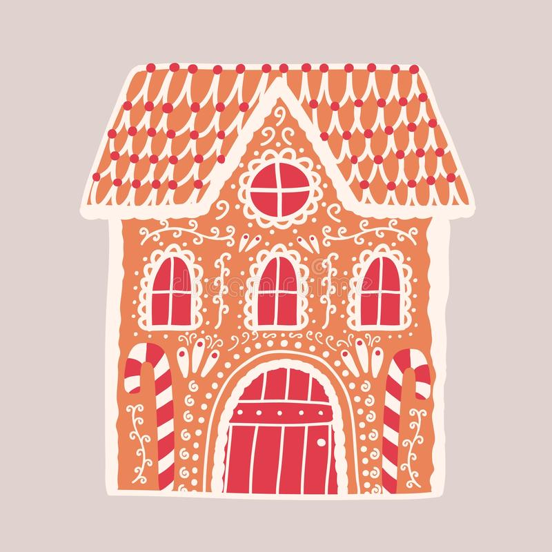 Lebkuchenhaus lokalisiert auf hellem Hintergrund Dekorativer Konfektionsartikel geformt wie Gebäude Schöner köstlicher Nachtisch vektor abbildung