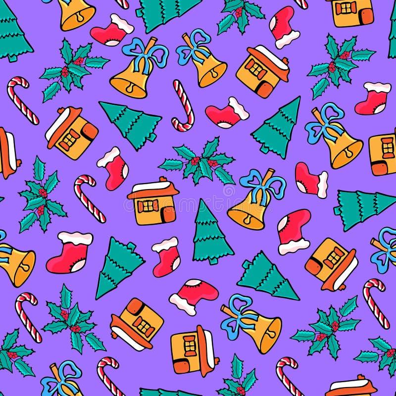 Lebkuchenhaus, Süßigkeit, Sankt Socke, Glocke Weihnachtsnahtloses Muster Entwurf für das neue Jahr 2019 im Gekritzel lizenzfreie abbildung
