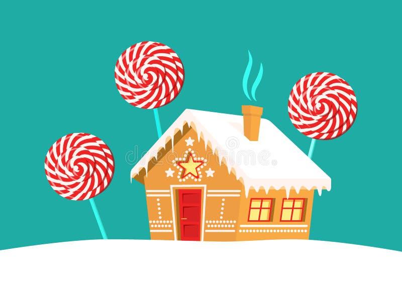 Lebkuchenhaus- und -lutscherbäume um es Weihnachten, neues Jahr, Winterurlaubkarte lizenzfreie abbildung