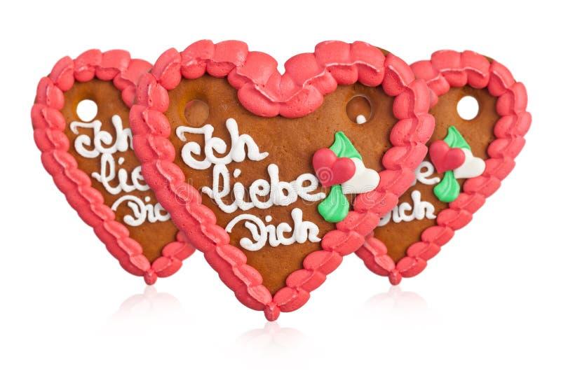 Lebkuchenherzen gingerbread Heart cookie royalty free stock photo