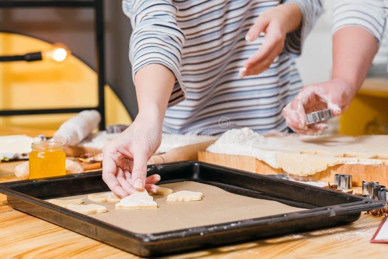 Lebkuchenkeksrezeptteig-Blattwanne lizenzfreies stockfoto