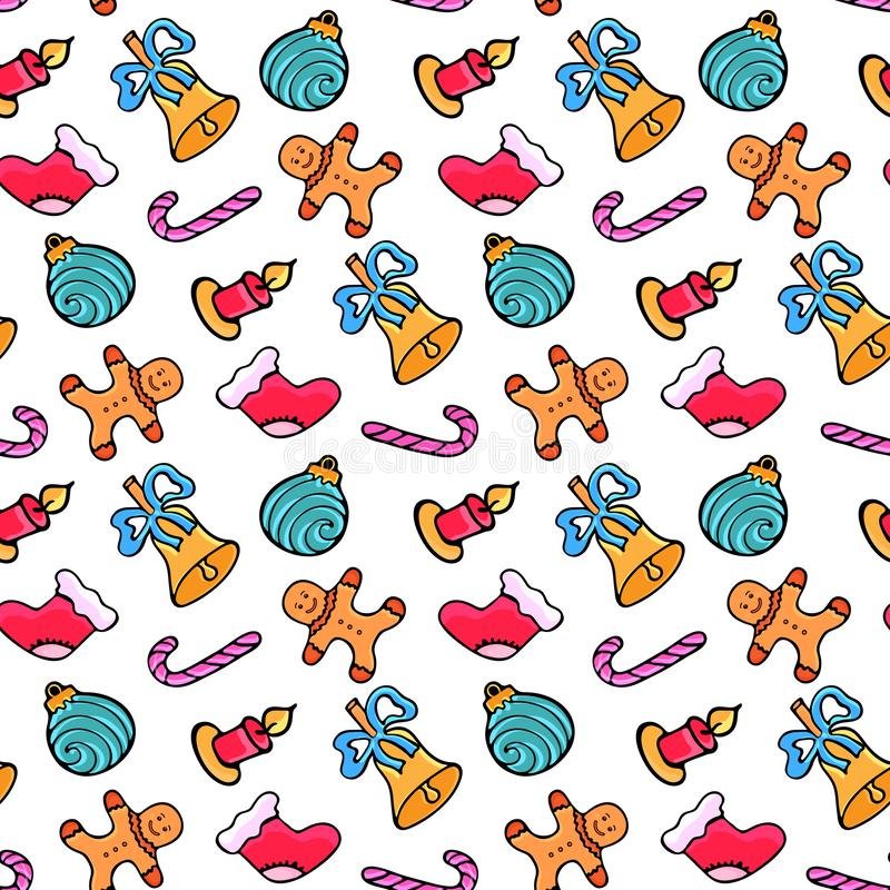 Lebkuchenmann, Süßigkeit, Sankt Socke, Glocke Weihnachtsnahtloses Muster Entwurf für das neue Jahr 2019 in der Gekritzelart stock abbildung