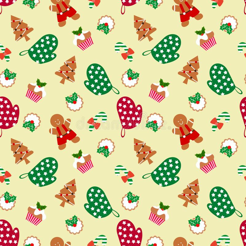 Lebkuchenmann und Weihnachtsnahtloses Muster lizenzfreie abbildung