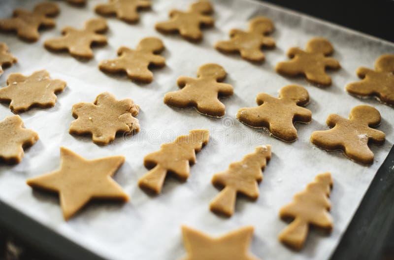 Lebkuchenplätzchen, die für Weihnachten verziert erhalten lizenzfreie stockfotos