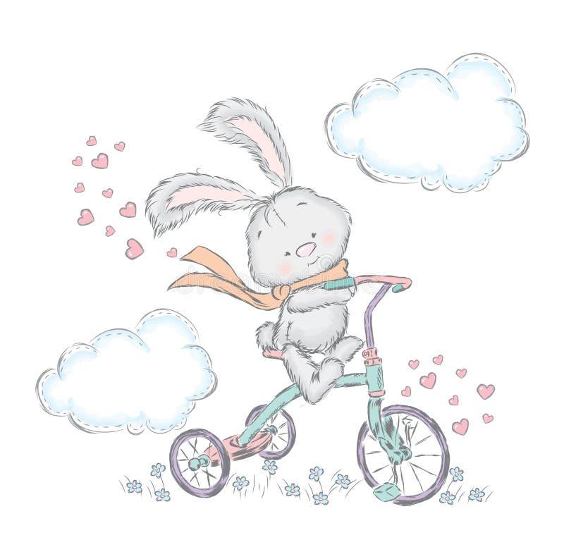 Lebre bonito em uma bicicleta Coelho no vetor Cartão do querido ilustração royalty free