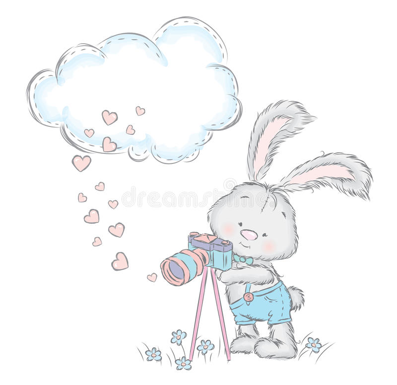 Lebre bonito no vetor Coelho com uma câmera Short do coelho ilustração royalty free