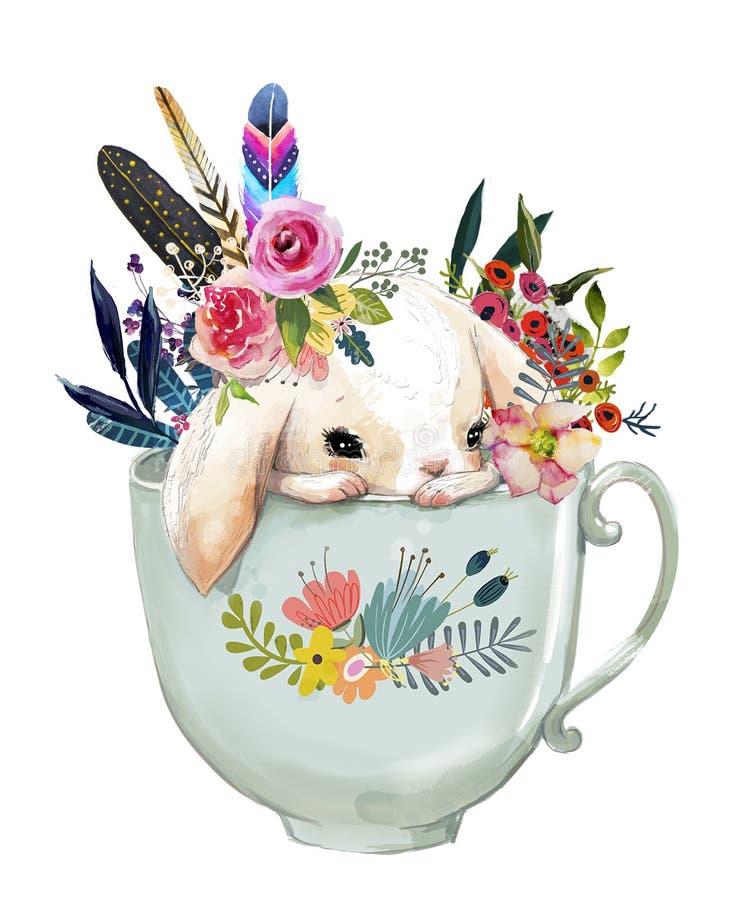 Lebre com flores ilustração stock