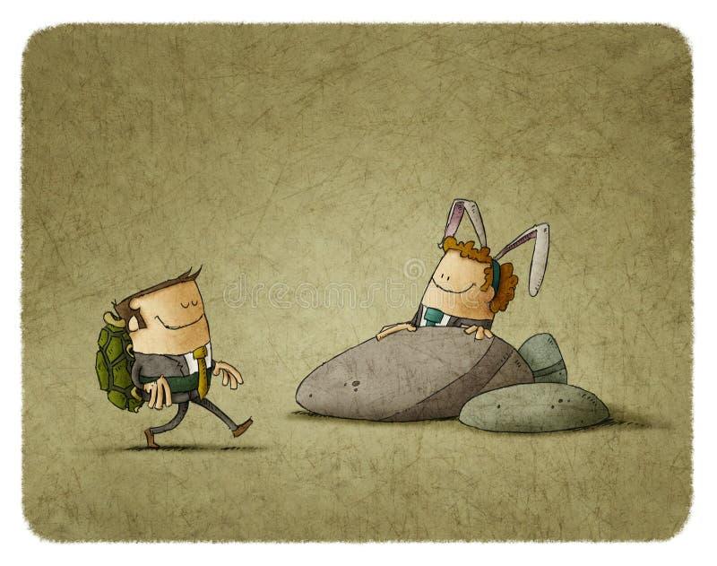A Lebre e a Tartaruga ilustração do vetor