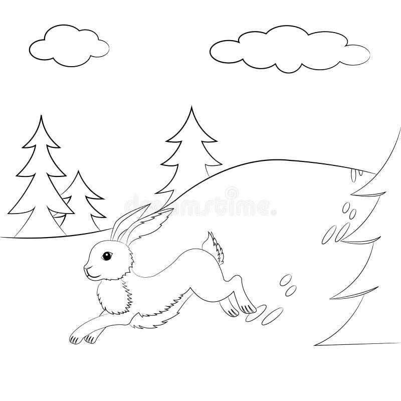 Lebre esboçada que corre na floresta ilustração stock