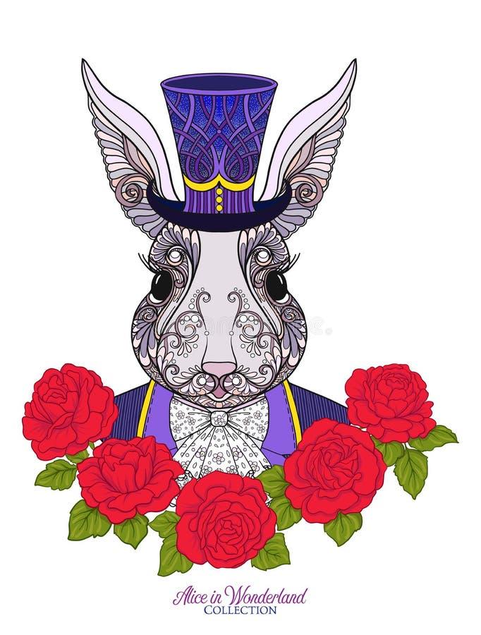 Lebre ou coelho no chapéu com as rosas do conto de fadas Alice ilustração stock