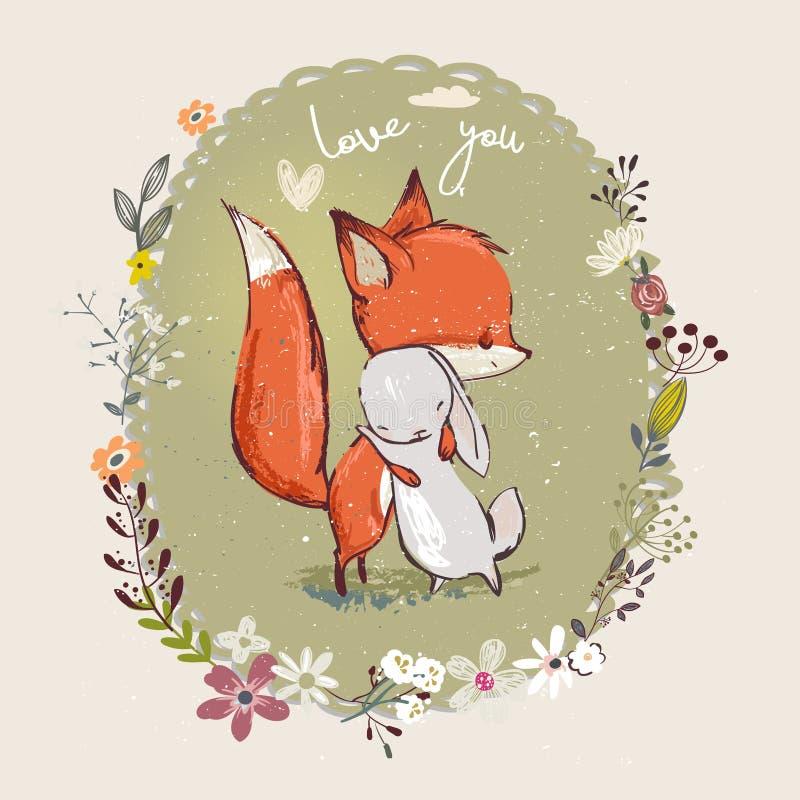 Lebre pequena bonito com raposa ilustração royalty free