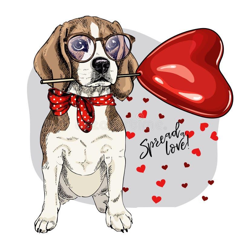 Lebreiro tirado mão com baloon da forma do coração Cartão do dia de são valentim do vetor O cão colorido bonito veste vidros e ilustração do vetor