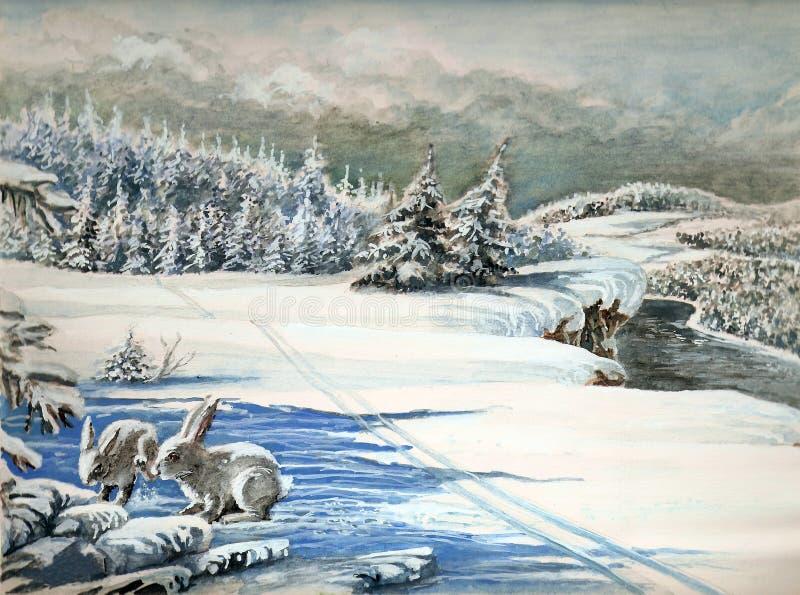 Lebres na neve ilustração do vetor