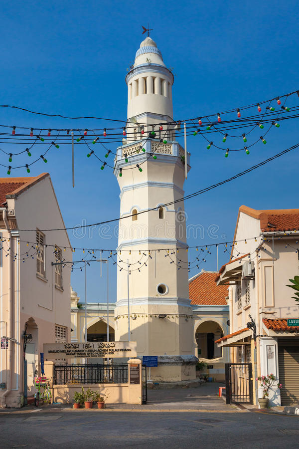 Lebuh Aceh Mosque, Penang, Malaysia. Minaret of the old Lebuh Aceh Mosque, UNESCO heritage site in George Town, Penang, Malaysia stock photography