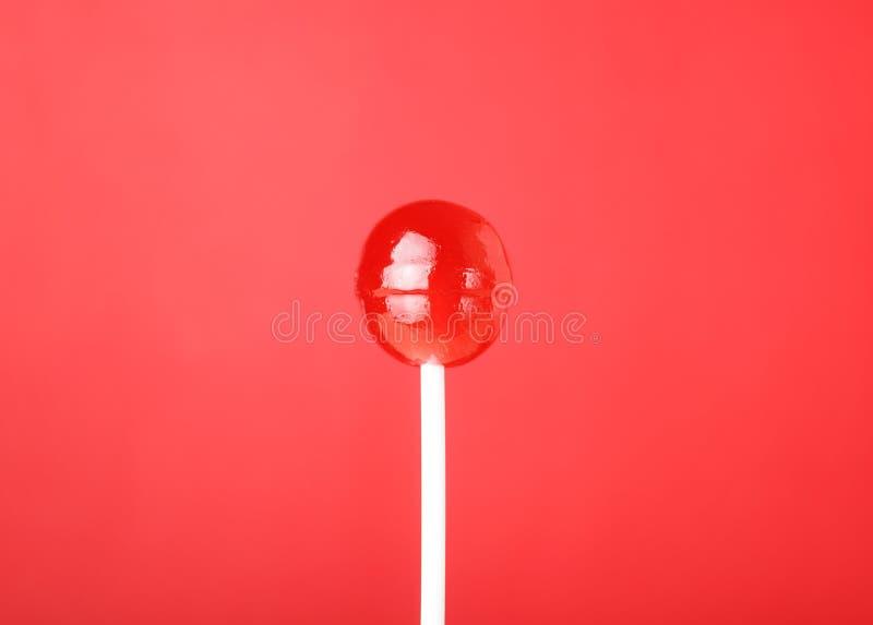 Lecca-lecca rotonda rossa fotografia stock