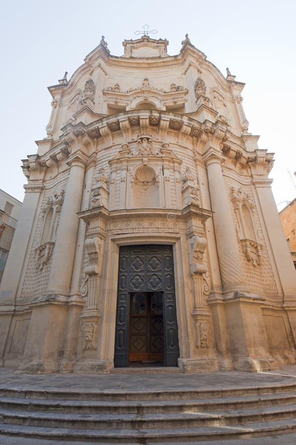 Lecce (Apulia, Italy): Baroque church, facade royalty free stock photography