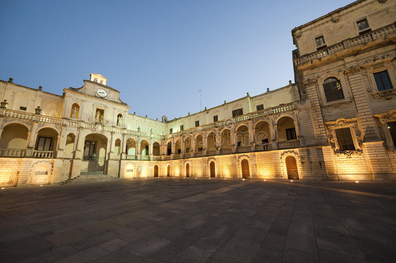 Lecce (Apulia, Italy): The main square at evening royalty free stock photos