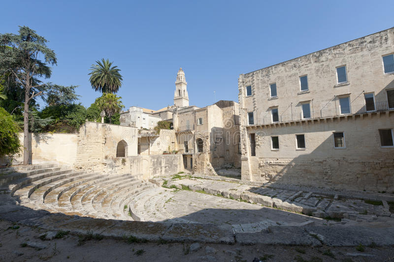 Lecce (Apulia, Italy): Roman theatre, ruins royalty free stock images