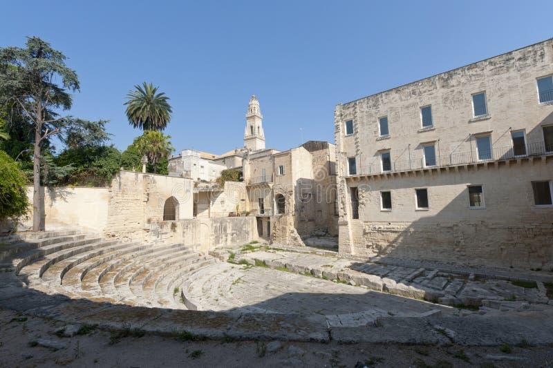 Lecce (Apulia, Italy): Teatro romano, ruínas imagens de stock royalty free