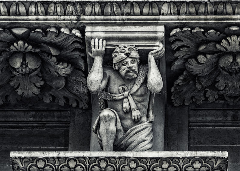 Lecce: Detalhe barroco da igreja fotografia de stock