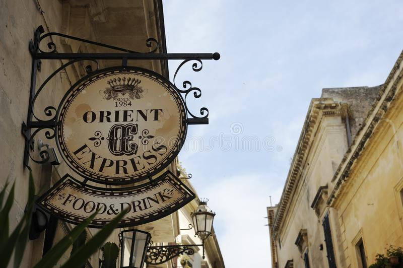 Orient Express Food and drink sign. Typical english Pub Restaurant in Italy royalty free stock images