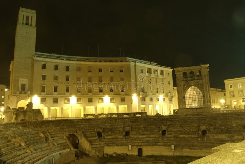 Lecce by night, roman amphitheatre royalty free stock photography