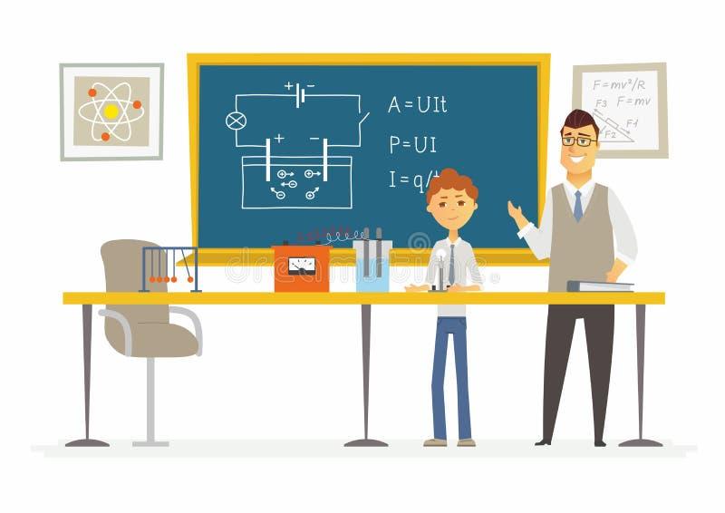 Lección de la ciencia en la escuela - ejemplo moderno de los caracteres de la gente de la historieta ilustración del vector