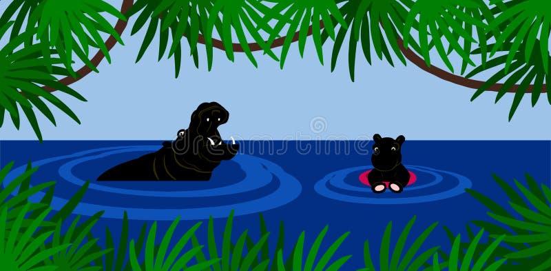 Lección de la natación del hipopótamo ilustración del vector