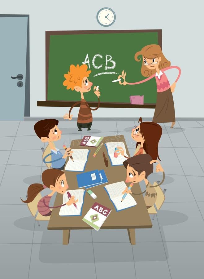 Lección de lengua inglesa en la clase, alumno que aprende alfabeto con ilustración del vector
