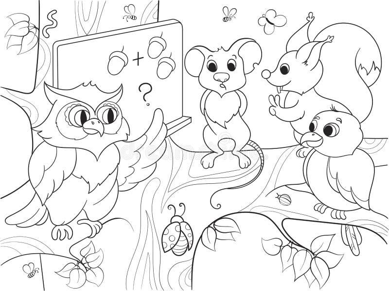 Lección en la escuela de un búho en el libro de colorear de maderas para el ejemplo del vector de la historieta de los niños stock de ilustración