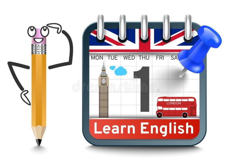 Lecciones de lengua inglesa con concepto del calendario ilustración del vector